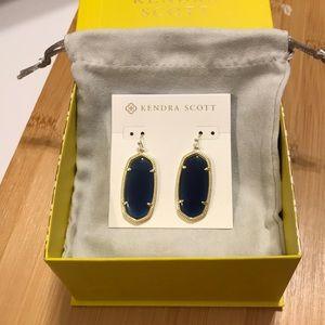 Kendra Scott Elle Gold Earrings in Navy Cat's Eye